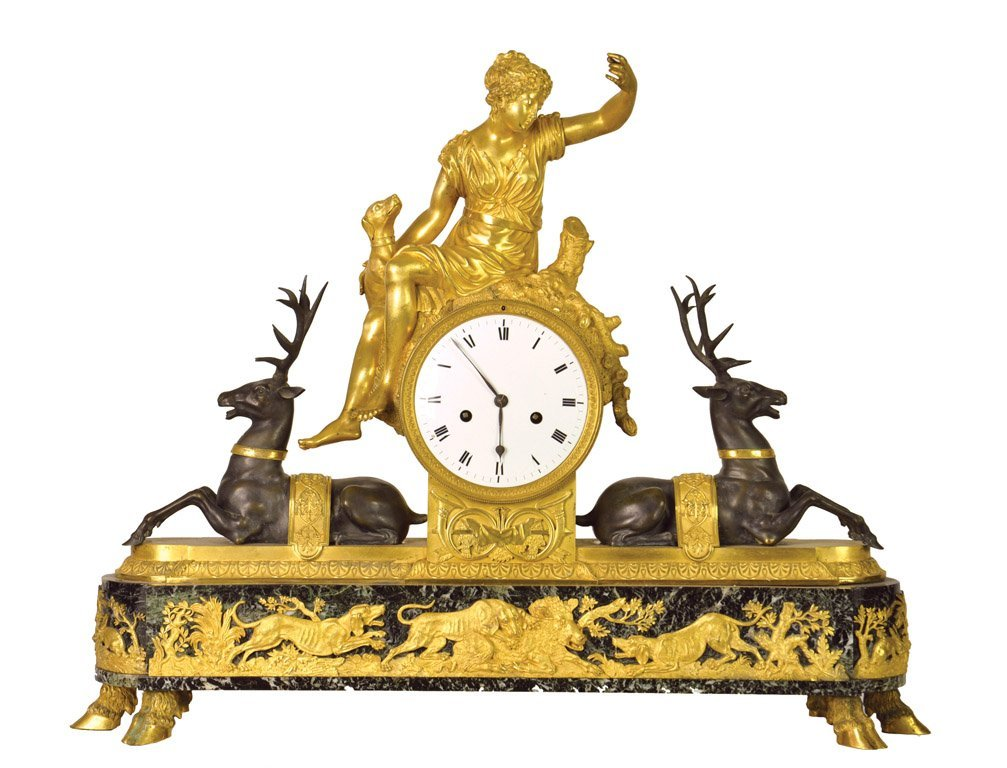 A fine quality ormolu green marble and bronze clock, Fr