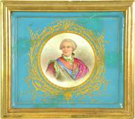 A Sevres pattern porcelain plaque, painted with a portr