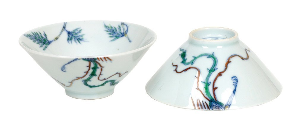 A pair of Chinese doucai enamel conical wine cups, Kang