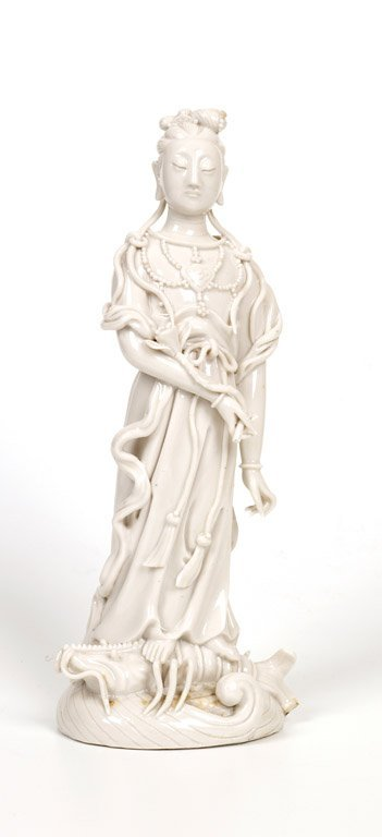 A fine and rare Chinese Dehua figure of Guanyin, early