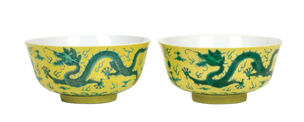A pair of Chinese Imperial dragon bowls, Daoguang six c