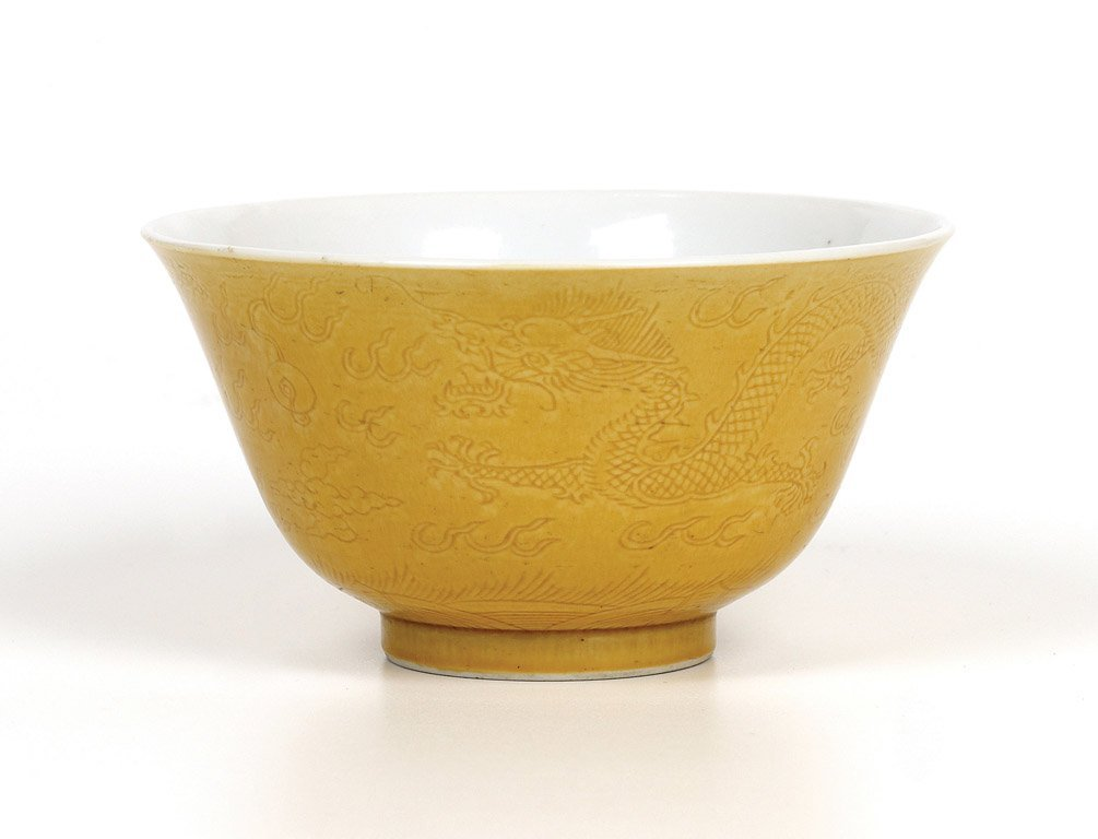 A Chinese Imperial yellow dragon bowl, Guangxu mark and