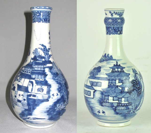 A Chinese blue and white garlic-mouthed bottle-vase, Qi