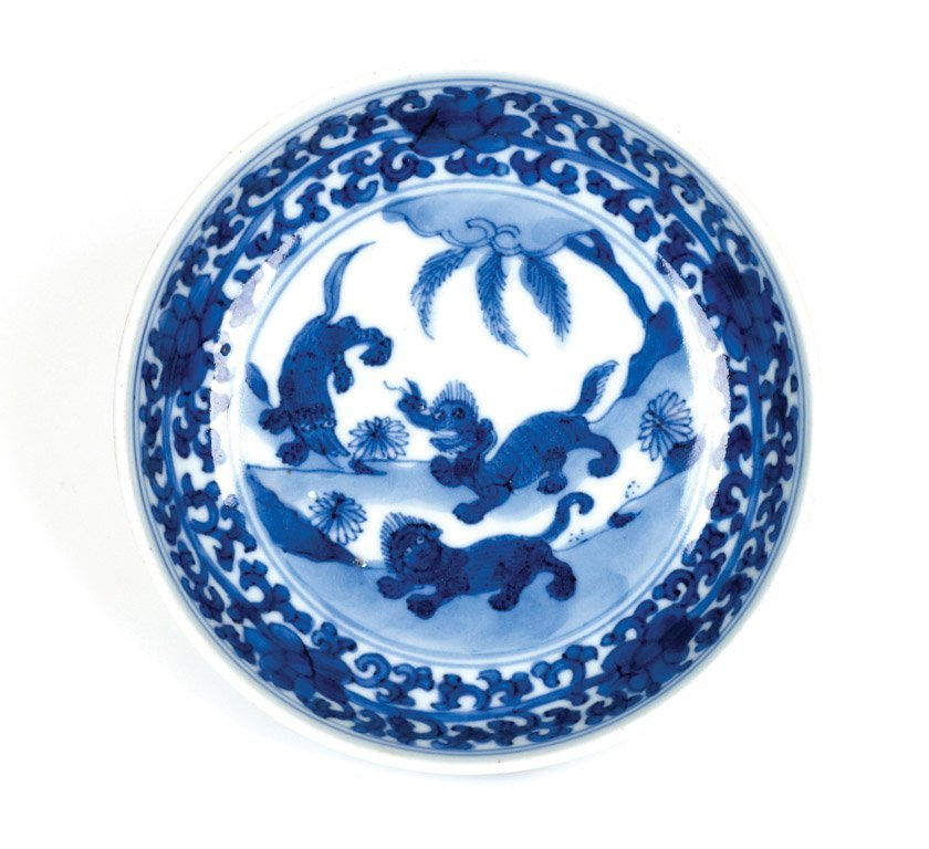 A rare Chinese blue and white saucer-dish, late Ming/ea