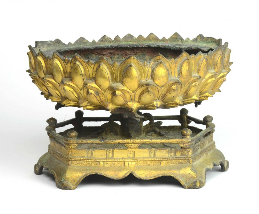A good Chinese gilt-bronze lotus throne, Ming Dynasty,
