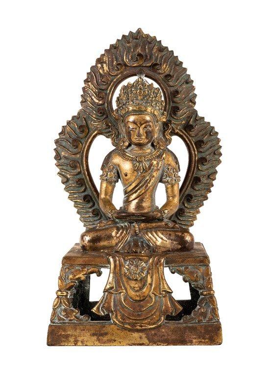 A cast gilt-bronze figure of Amitayus, Qing Dynasty, Qi