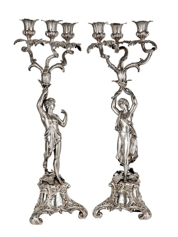 A pair of fine Victorian sterling silver figural candel