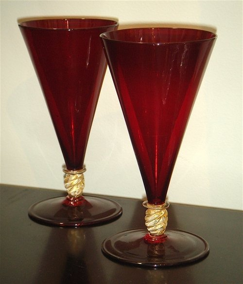 A pair red conical-shaped Murano wine glasses, Italian,