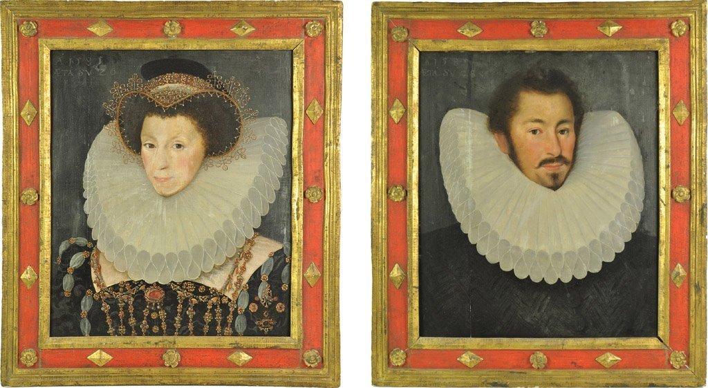 ENGLISH SCHOOL, 16TH CENTURY Portrait of a Lady and Gen