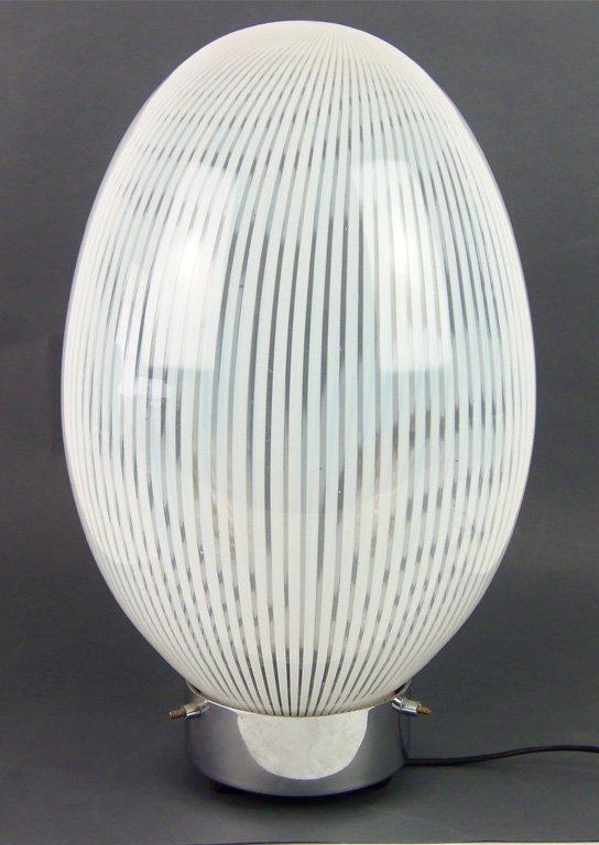 A latticino Uovo table lamp, Italian, circa 1950 47cm