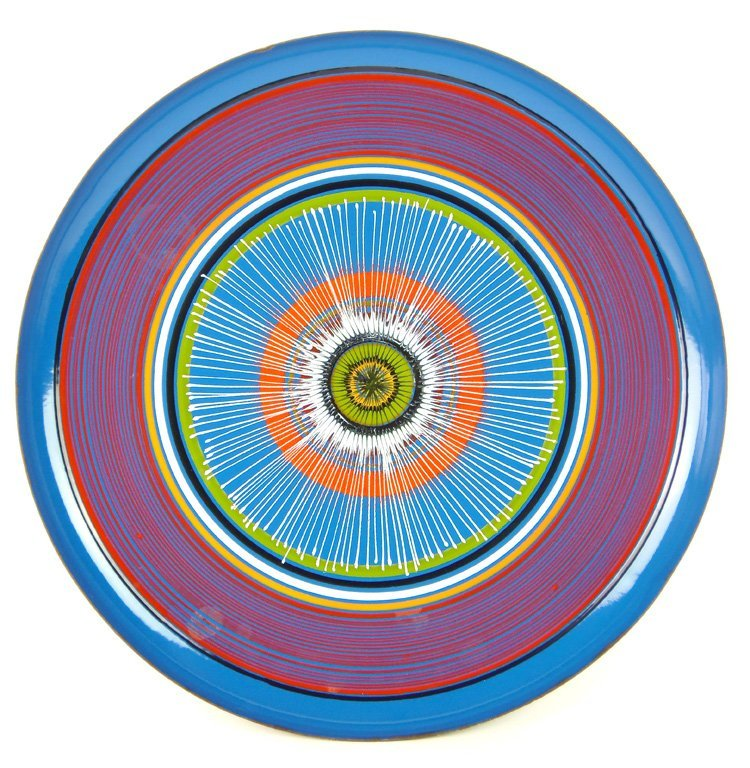An enamel circular tray, signed Siva, Italian, circa 19