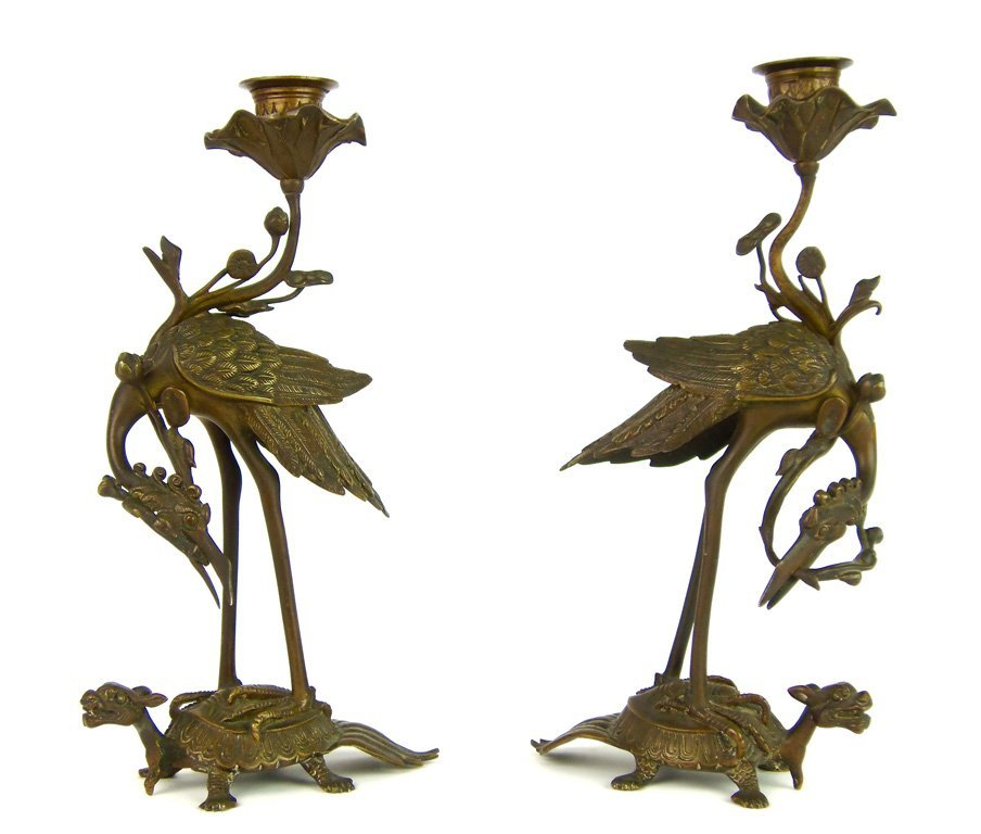 A fine pair of bronze crane and turtle candlesticks, Fr