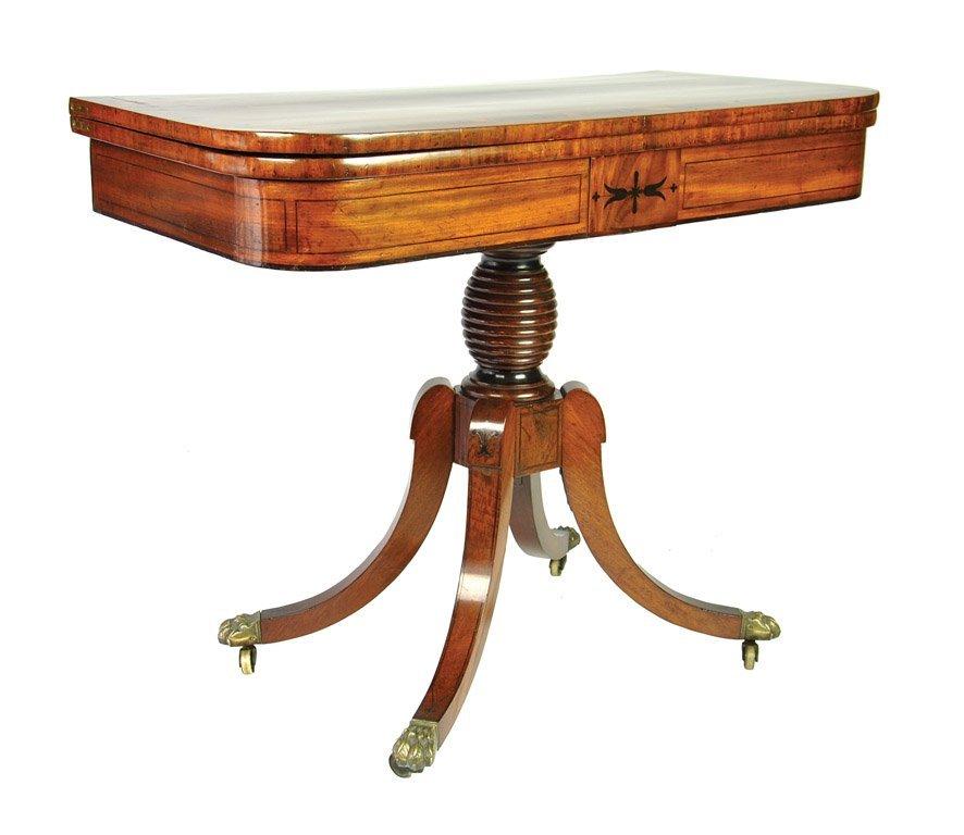 A Fine Regency mahogany, satinwood and ebony crossed-ba