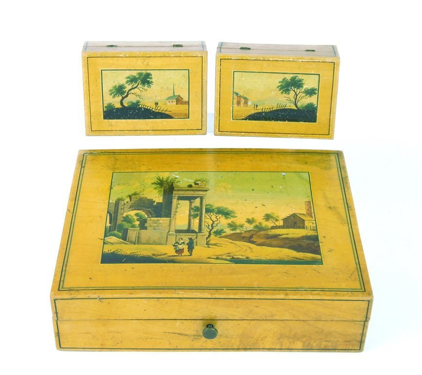 Three painted Spa treen boxes, Continental, 19th centur