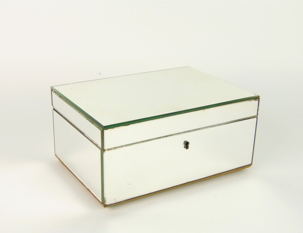 A rectangular mirrored dressing table box, French, circ