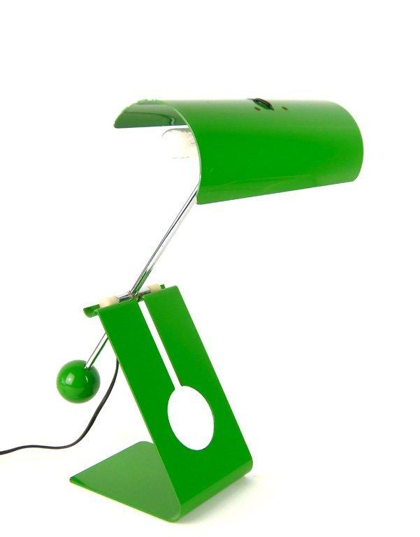 A green enamel counter balanced table light, Italian, c