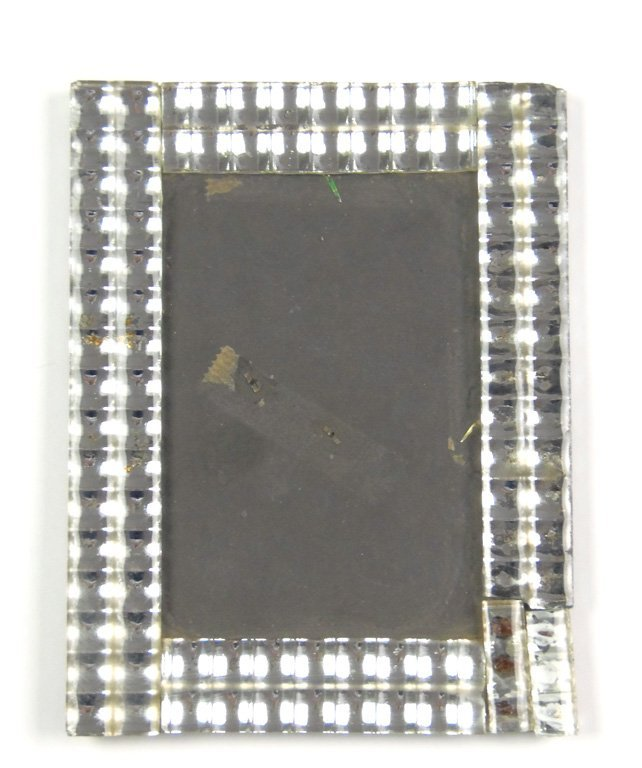 A mirrored and moulded glass photograph frame, French,