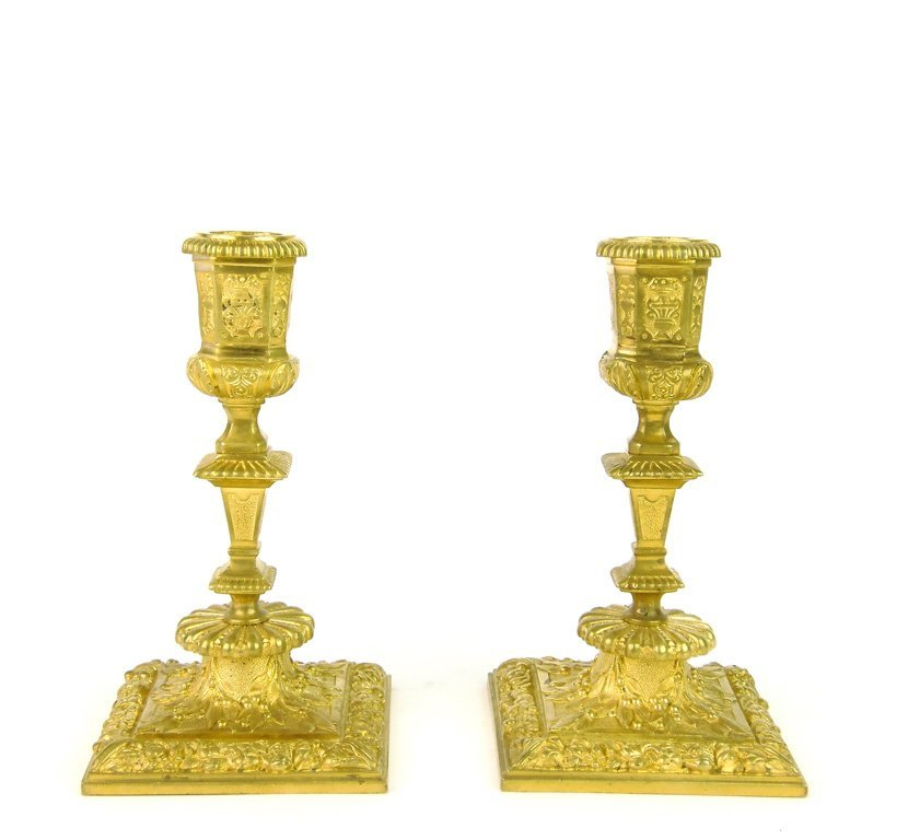 A pair of Regence style finely cast gilt bronze candles