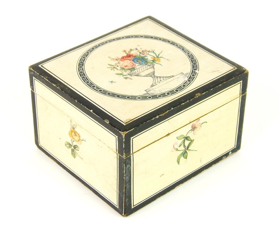 A painted square dressing table box, French, early 19th
