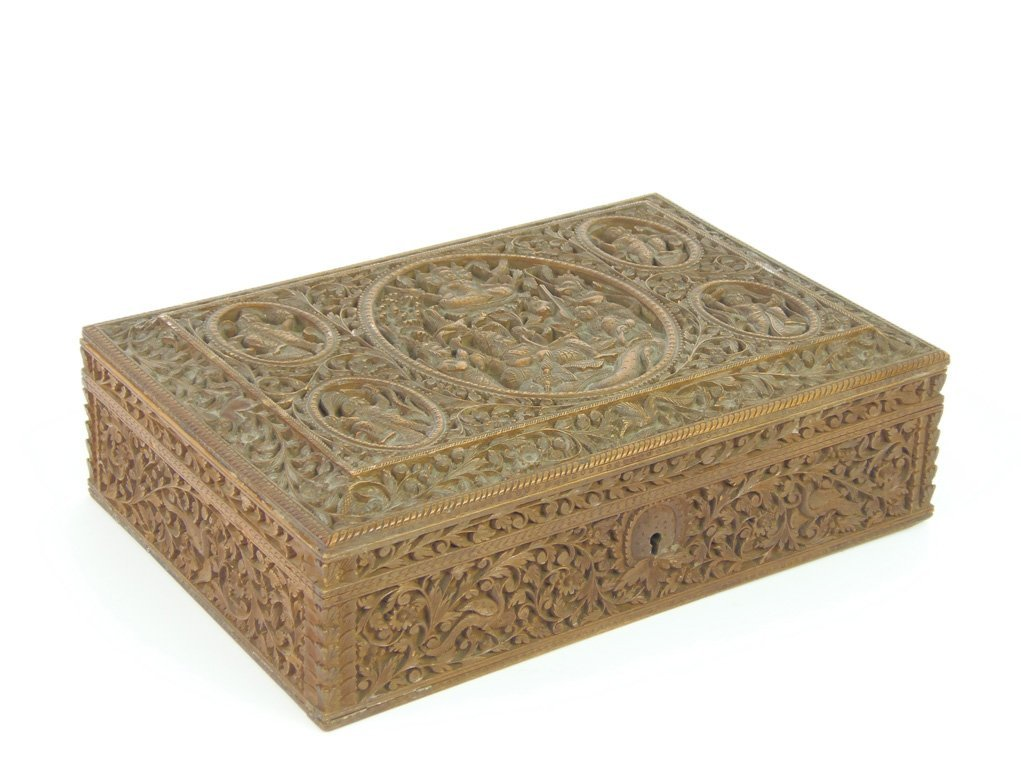 A finely carved sandalwood box, Anglo-Indian, 19th cent