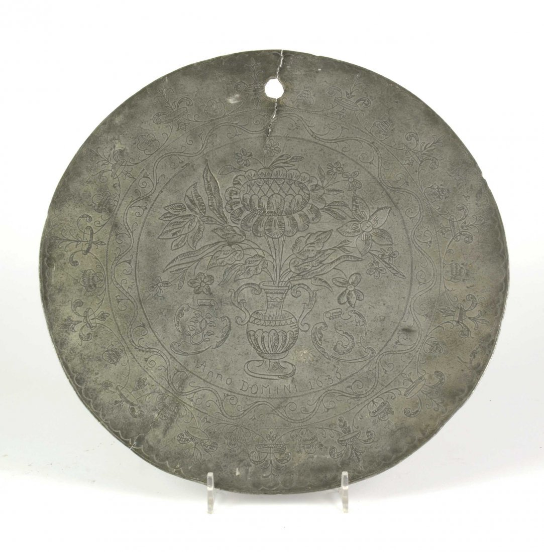 A rare dated antique 17th century pewter pattern, 1636