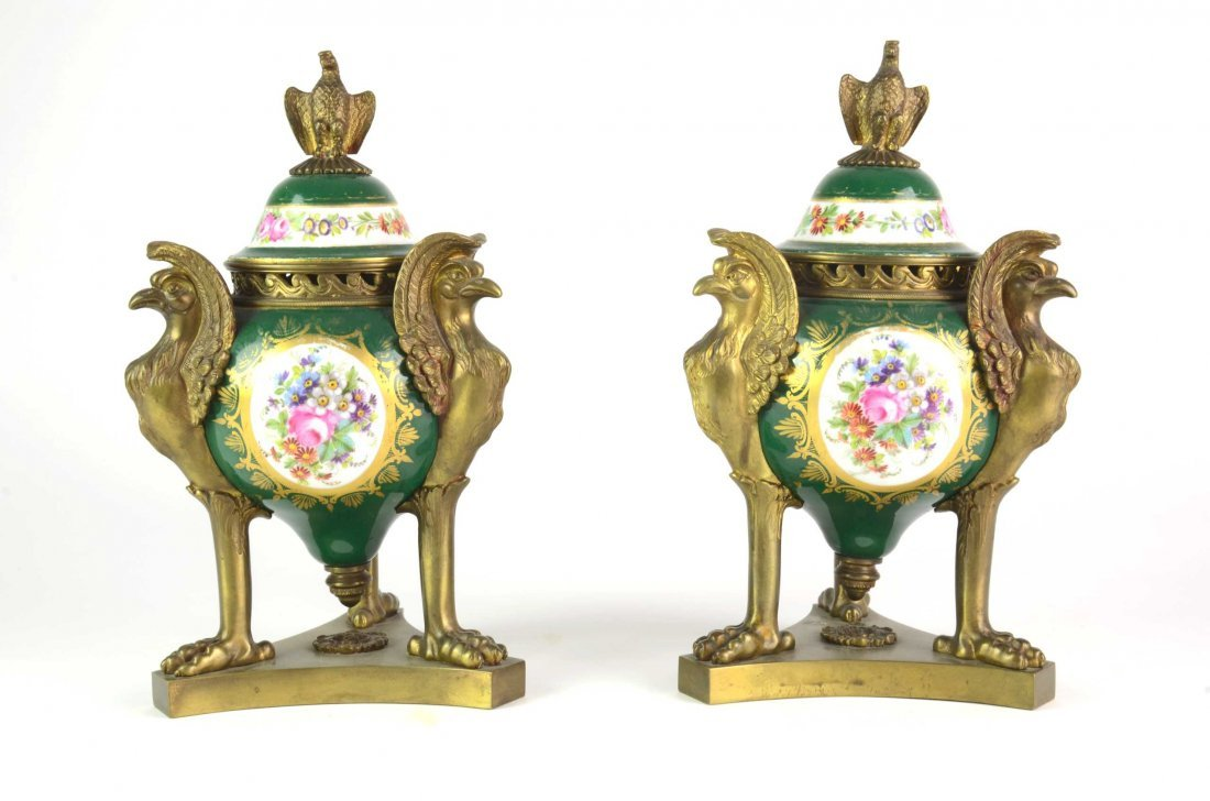 A pair of Sevres pattern and bronze mounted porcelain c