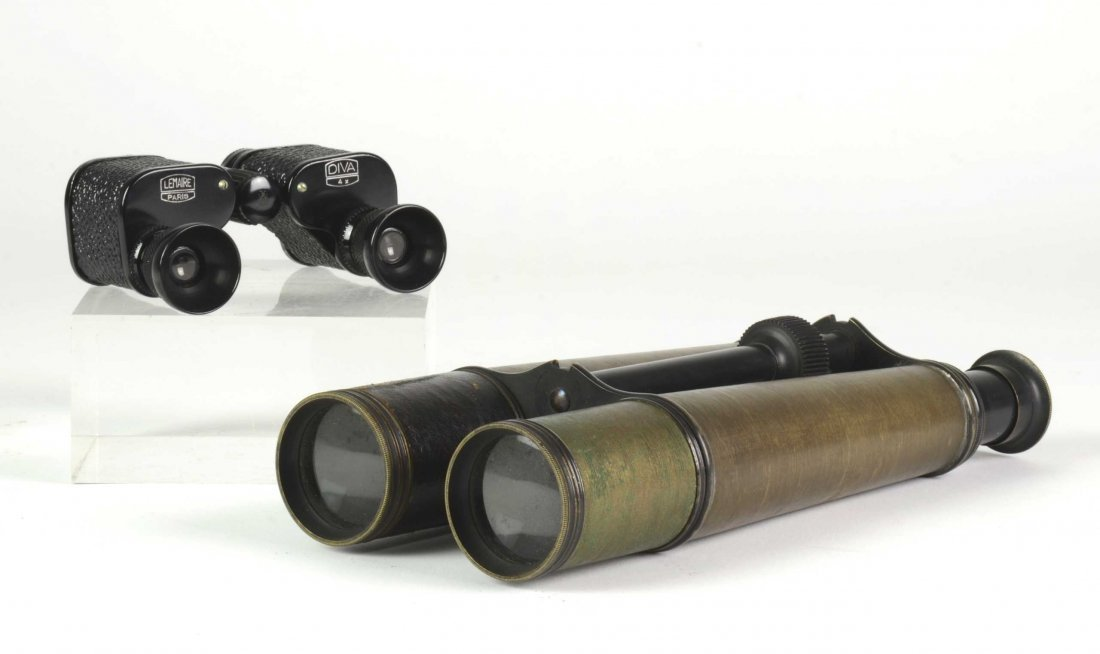 A pair of field binoculars in leather case by Salmoirag