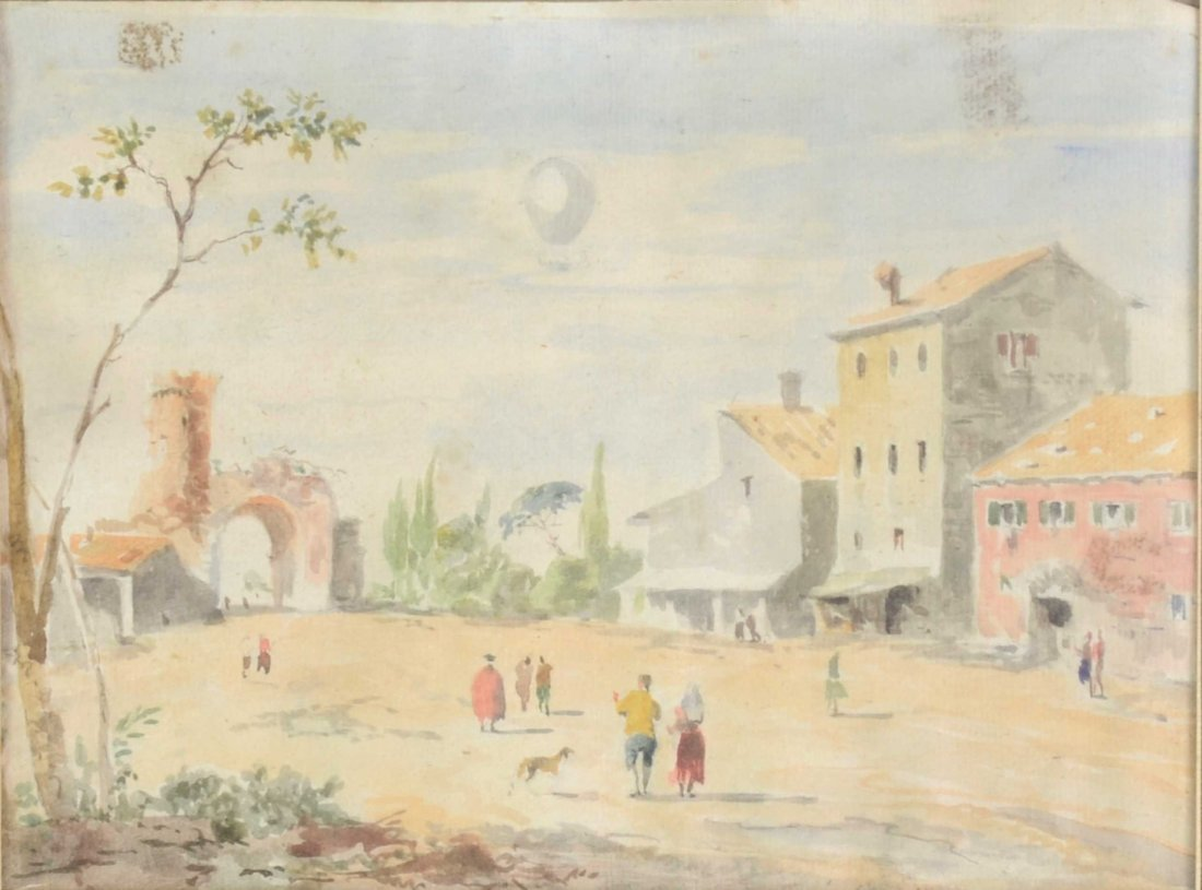Italian school 19th century Landscape with figures and