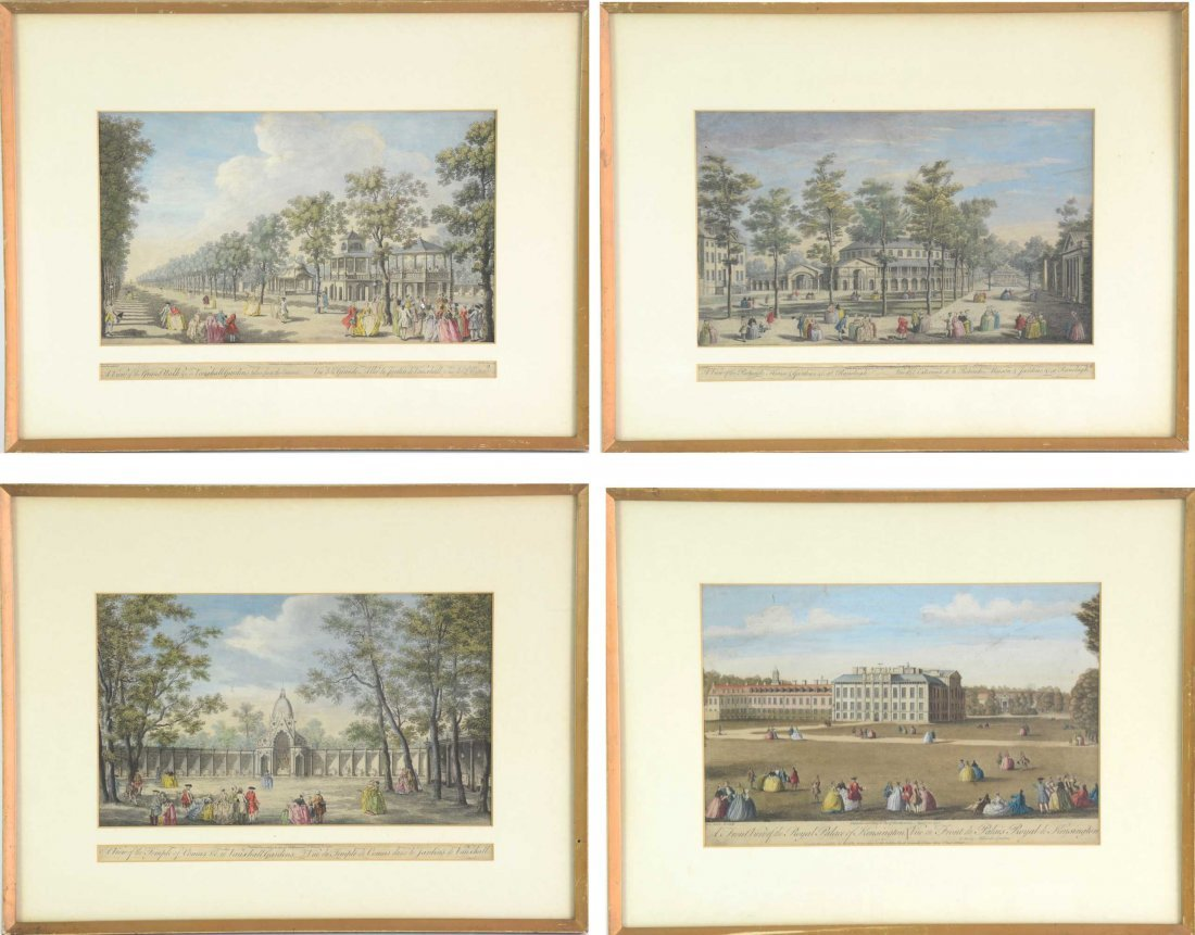 A set of 4 hand coloured engravings of London architect