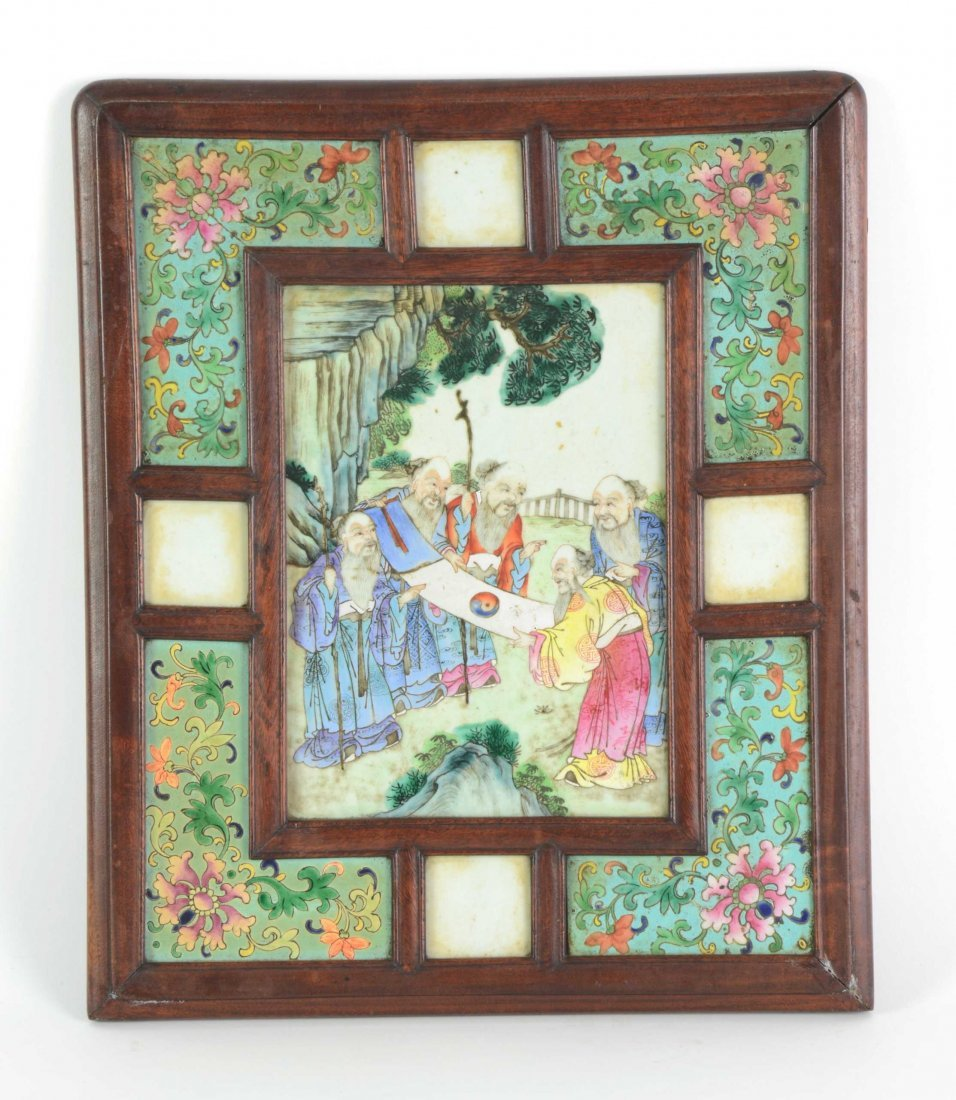 A Chinese painted porcelain and hardwood plaque 40cm hi