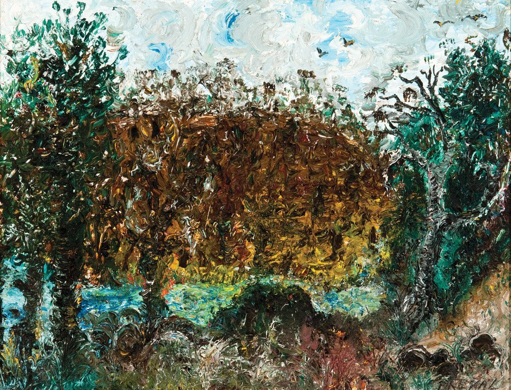 John Perceval Murrumbidgee River, ACT, 1966 oil on boar