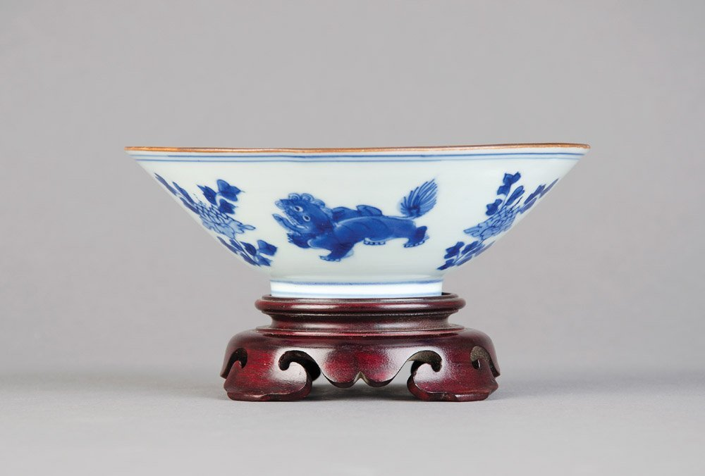 A good Chinese conical blue and white bowl, Shunzhi Per