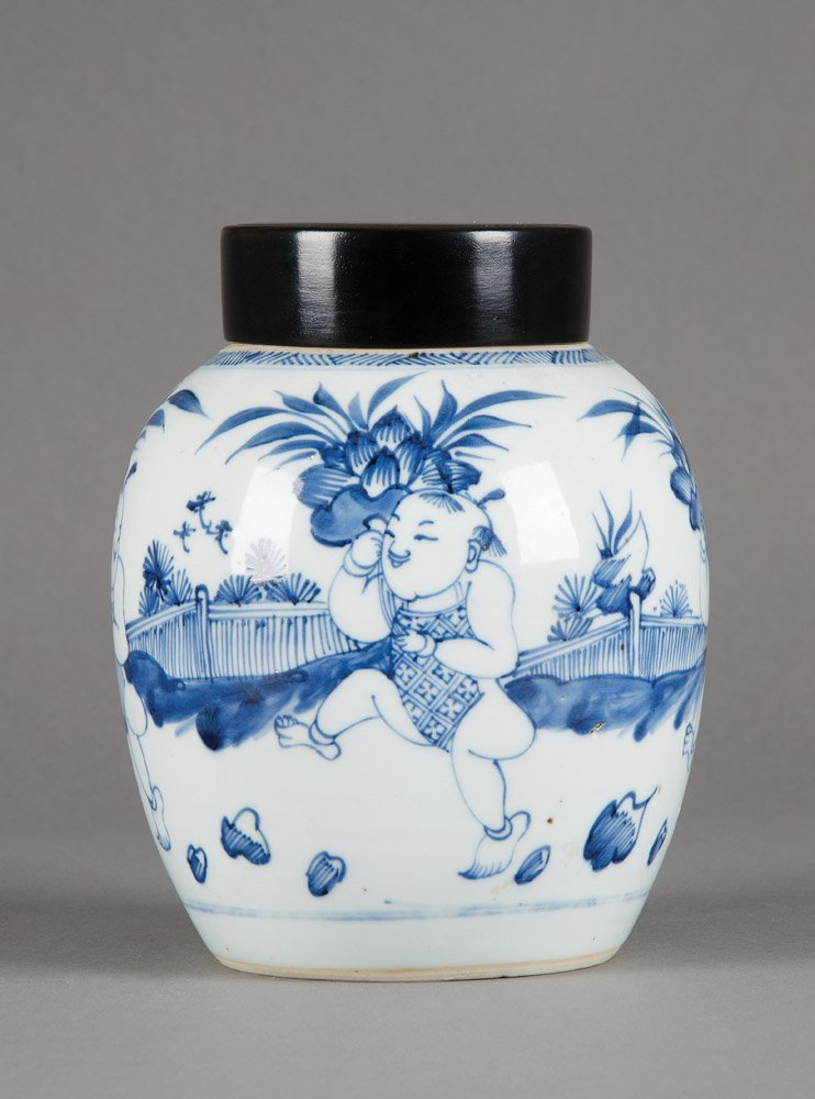 A Chinese blue and white porcelain boys jar, Kangxi, 17