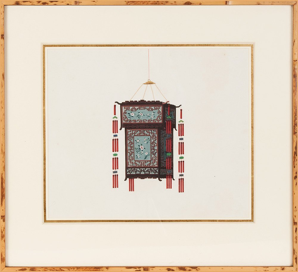 A pair of Chinese paintings of lanterns, circa 1920  Pr
