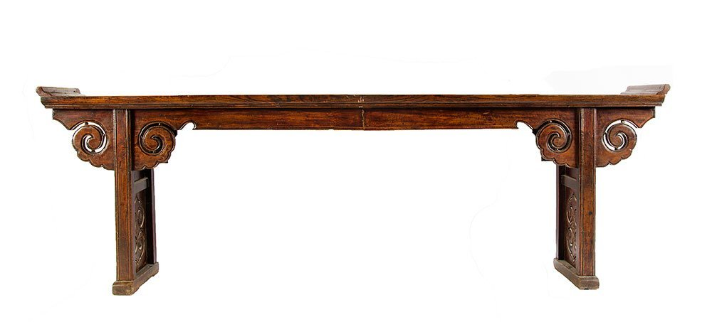 A long Chinese elm altar table, late Qing Dynasty, 19th