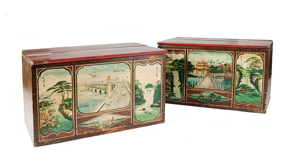An unusual pair of Chinese lacquer and polychrome blank