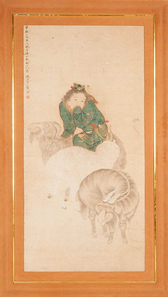 A good Chinese painting of a man and three goats, early