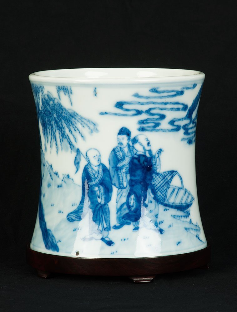 A Chinese blue and white waisted brush pot, 20th centur