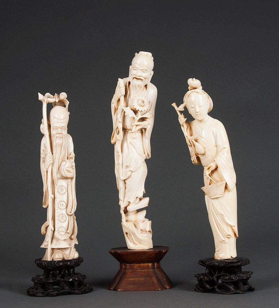 Three Chinese ivory figures, early 20th century includi