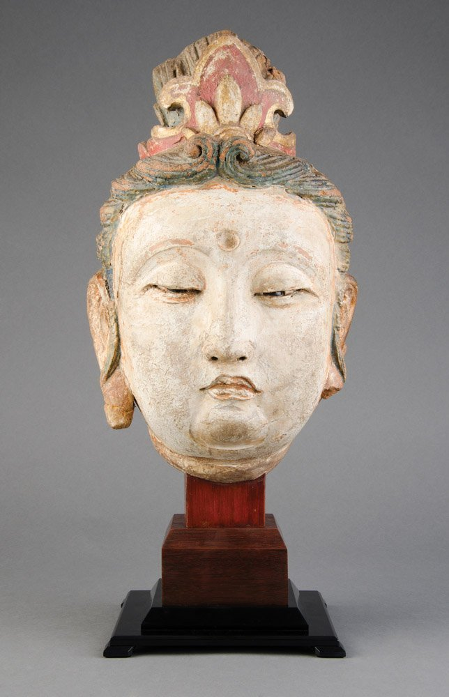 A larger than life size Chinese polychrome stucco head
