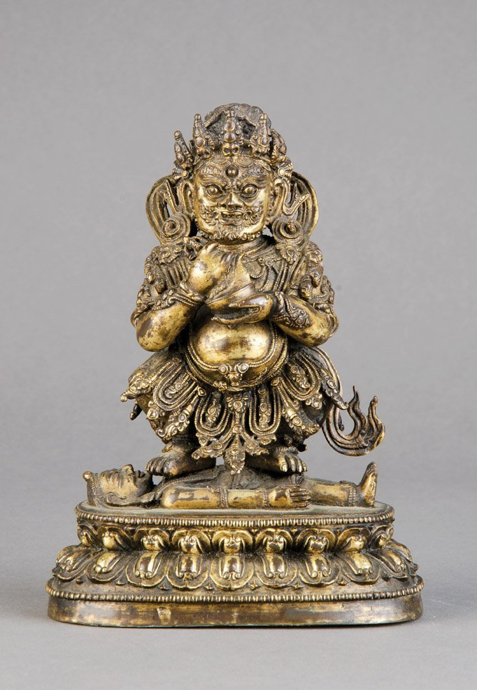 A rare and exceptional Chinese gilt-bronze seated figur