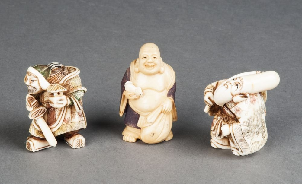 NETSUKE: Group of 3 hand coloured Japanese ivory