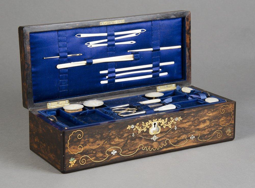 SEWING WORKBOX: Mid 19th century Coromandel box