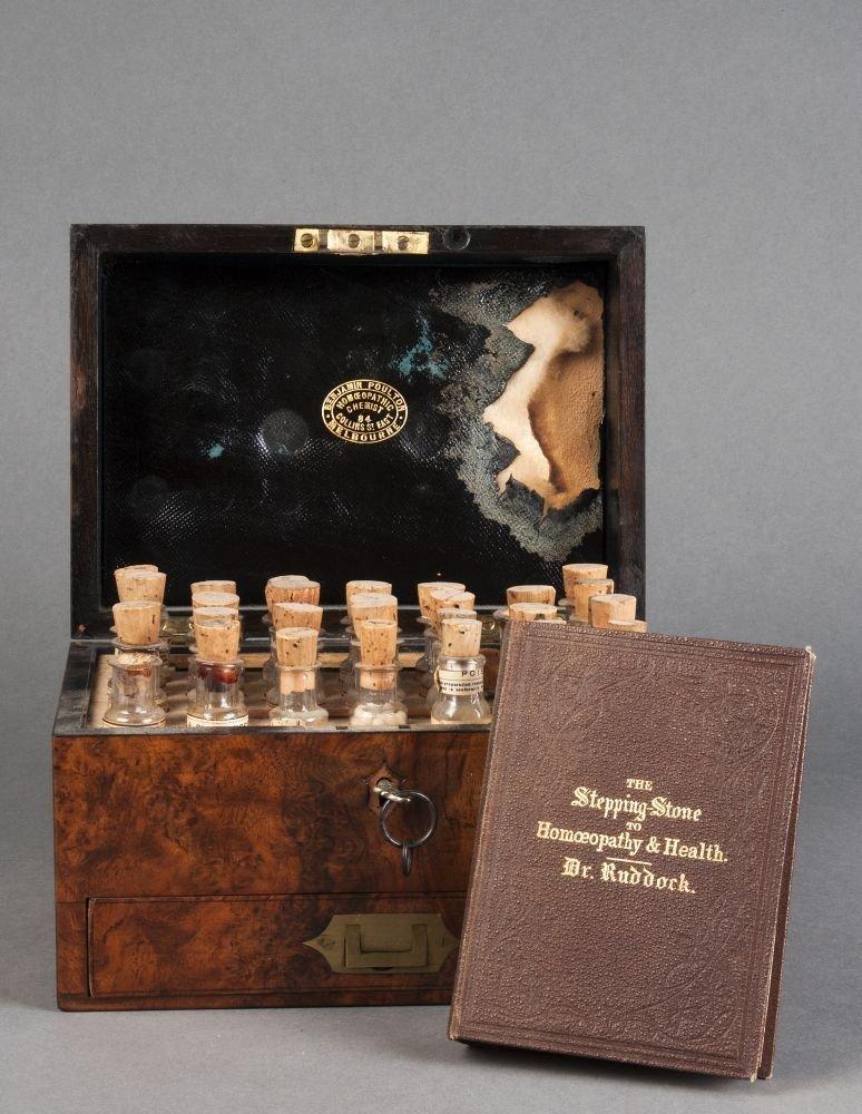 CHEMIST BOX: Antique Homoeopathy set in burr walnut