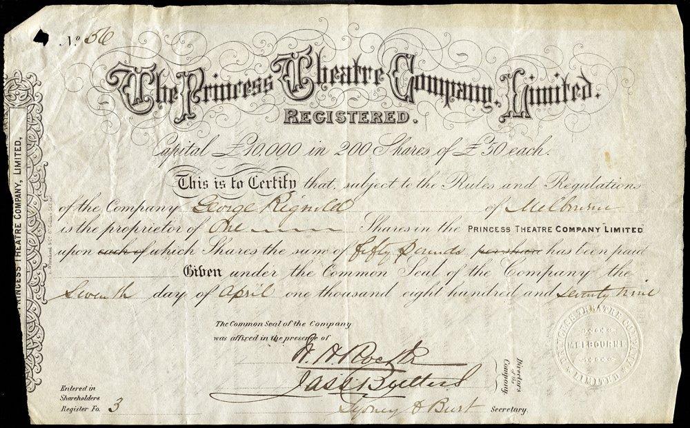 "PRINCESS THEATRE: 1879 share certificate ""The Princess"