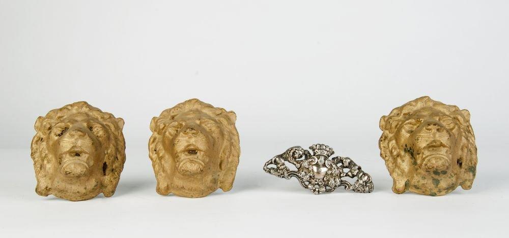 DOOR FURNITURE: Set of 3 cast iron lion mask features