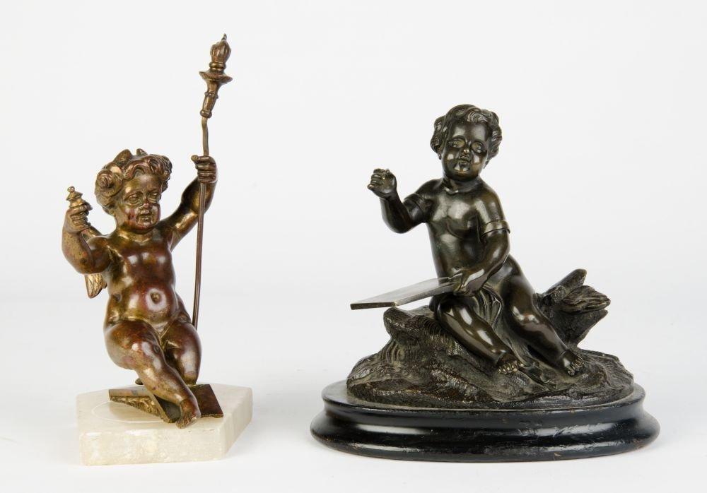 Antique bronze & spelter Cupid statues on alabaster &