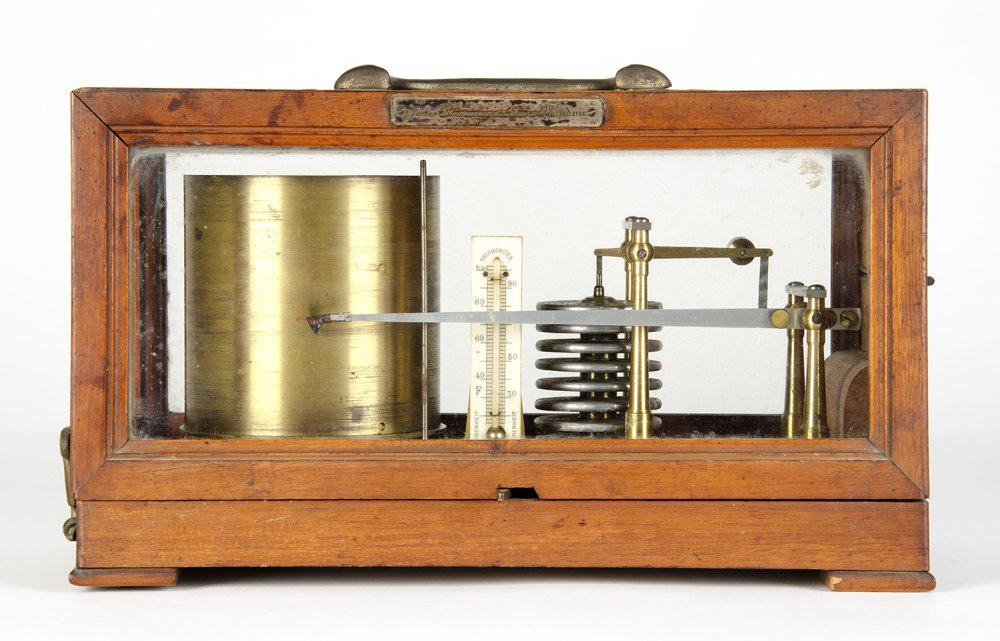 BAROGRAPH: Late 19th century with silver plated makers