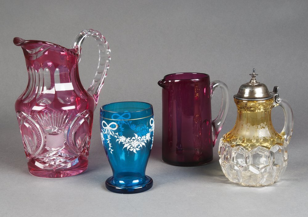 RUBY GLASS jugs (2), one antique 15cm, the other 20th