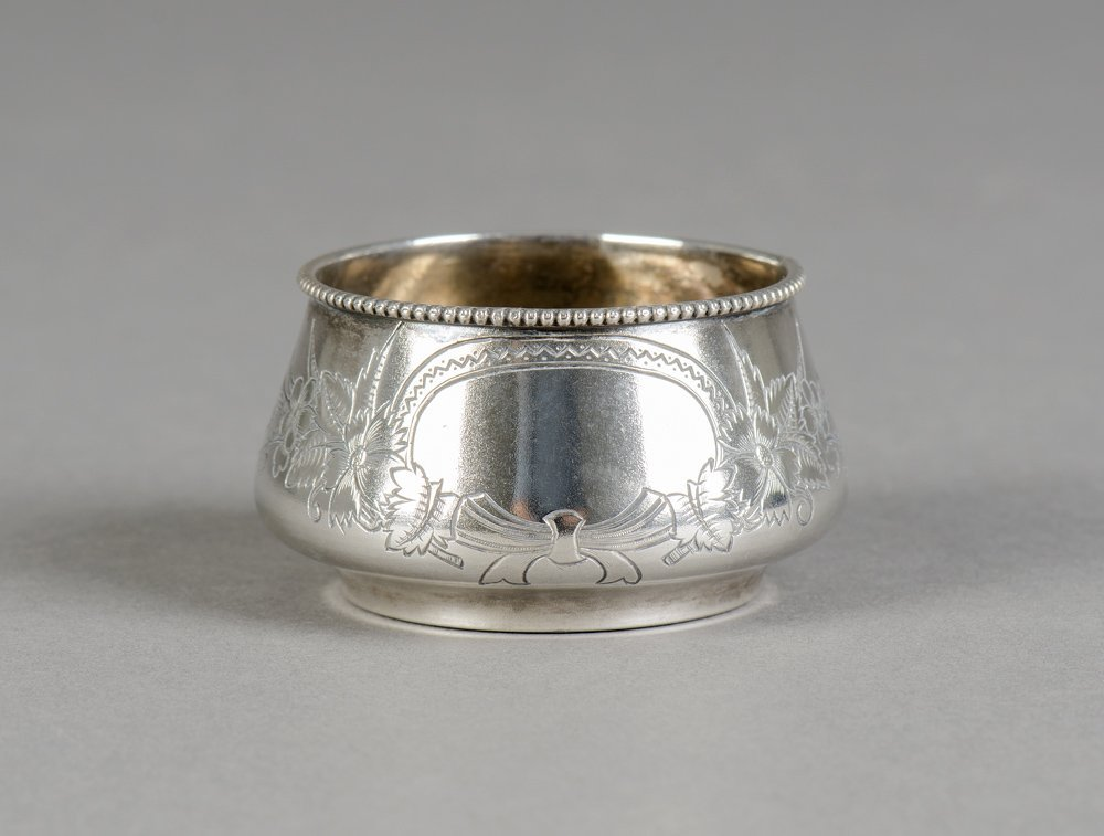 FABERGE: Russian Silver condiment pot with engraved